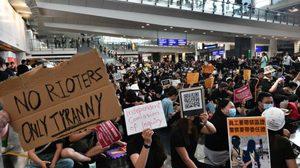 สั่งยกเลิกทุกเที่ยวบินเข้า-ออก ฮ่องกง แนะคนไทยติดสนามบินออกจากพื้นที่