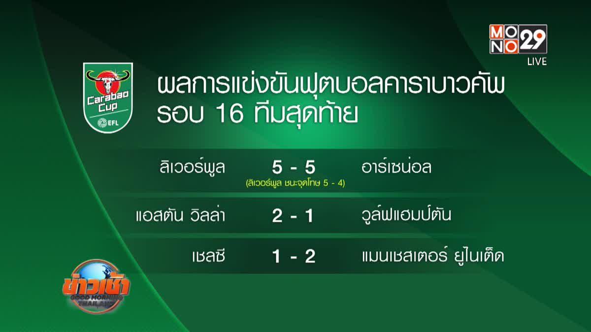 ผลการแข่งขันฟุตบอลคาราบาวคัพ รอบ 16 ทีมสุดท้าย