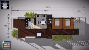 บ้านแนวโมเดิร์น หน้าแคบยกพื้นสูงพื้นที่ใช้สอย 108 ตร.ม.
