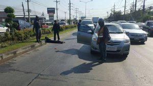 ในไทยก็มี!!  คลิปนาทีแก๊งคนร้ายวิ่งให้รถชน หวังเรียกเงิน