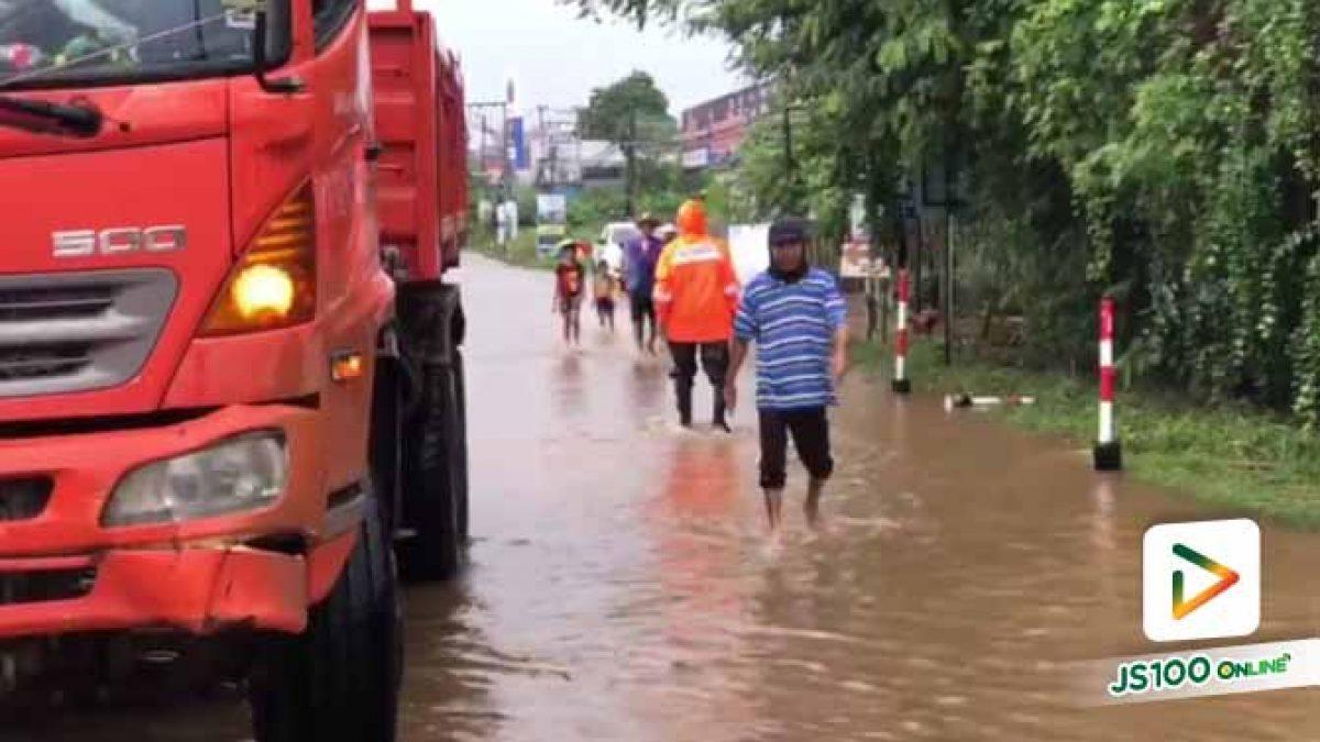 ขอนแก่นเร่งระบายน้ำลงสู่แม่น้ำชี ขณะที่น้ำท่วมขังเขตพื้นที่เทศบาลตำบลบ้านเป็ด
