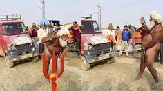 ลากรถกระบะด้วยกระปู๋ หนุ่มอินเดียโชว์ความสามารถพิเศษในเทศกาล Magh Mela