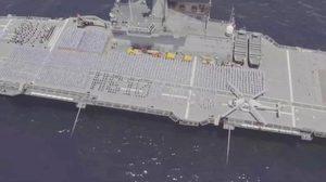 ยิ่งใหญ่! ทหารเรือ ร่วมแปรอักษรบนดาดฟ้า เรือหลวงจักรีนฤเบศร ถวายพระพรชัยมงคล