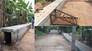 ท่อระบายน้ำ 2018! วางท่อสูงกว่าพื้นถนน ชาวบ้านต้องใช้บันได้ปีนเข้าบ้าน