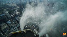 กทม. ทดสอบฉีดน้ำลดฝุ่นละออง PM2.5 จากตึกใบหยก
