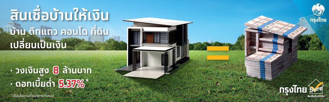 สินเชื่อบ้านให้เงินกรุงไทยชัวร์  เปลี่ยน บ้าน ตึกแถว คอนโด ที่ดิน ให้เป็นเงิน