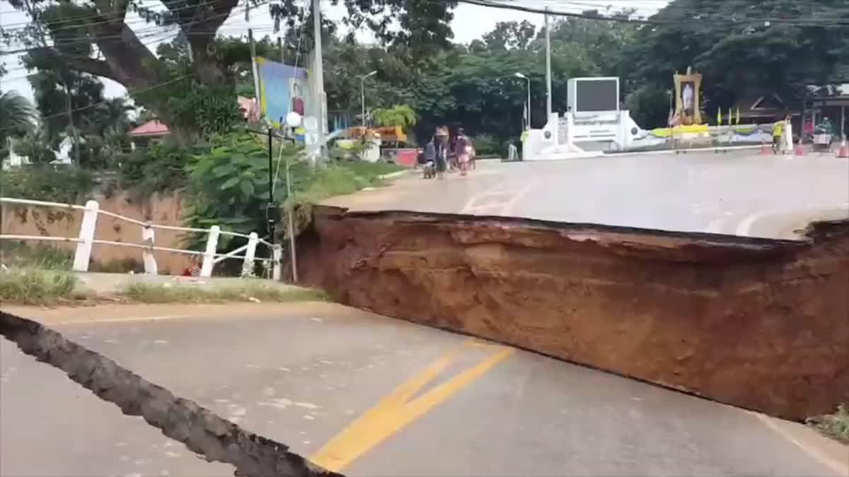 สะพานคลองส่งน้ำจ.เพชรบุรี ทรุดตัวขาด รถผ่านไม่ได้