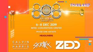 Lineup สุดจัด ครั้งแรกในไทย Clavin Harris พร้อม Skrillex , ZEDD นำทัพดีเจ บุก 808 Festival 2019  6-8 ธันวาคม นี้