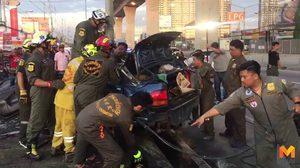สลด!! 2 ตายายนั่งรถจะไปวิ่งการกุศล ถูกเก๋งชนท้ายดับ