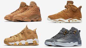 Nike Retro ยกขบวนหนังกลับ สีน้ำตาล Jordan 6 ,13, Uptempo และ Jordan 12 สีเทา แดง