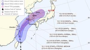 """ไต้ฝุ่น """"มีทัก (MITAG)""""เข้าเกาหลี ฝนตกหนัก-ลมพัดแรงทั่วประเทศ"""