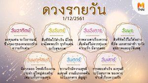 ดูดวงรายวัน ประจำวันเสาร์ที่ 1 ธันวาคม 2561 โดย อ.คฑา ชินบัญชร