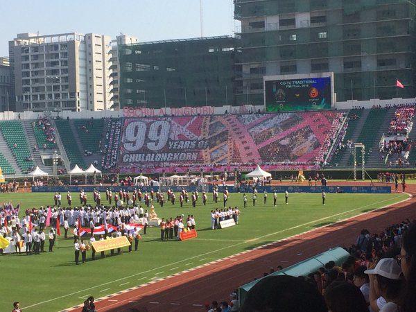 สแตนแปรอักษรจุฬาฯ 99 ปี สวยงดงามมาก พิธีเปิดเริ่มแล้ว!!