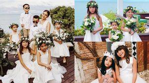 """น่ารักมาก! 3 นางฟ้าตัวน้อย Flower girls """"ไลลา-บีน่า-ริชา"""" งานแต่งเจนี่-มิกกี้"""