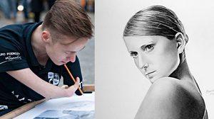 ผลงานวาดภาพเหมือน ของศิลปินหนุ่มที่พิการทางแขนมาแต่กำเนิด