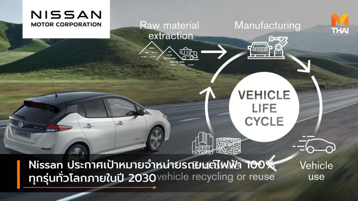 Nissan ประกาศเป้าหมายจำหน่ายรถยนต์ไฟฟ้า 100% ทุกรุ่นทั่วโลกภายในปี 2030