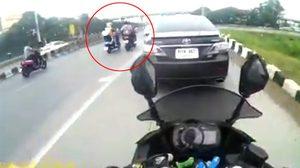 หนุ่มขับวิน ถีบรถคู่กรณีล้มเจ็บ พบตำรวจแล้ว ฉุนขับรถย้อนศรจนเกี่ยวกัน