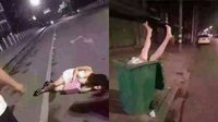 สังคมไม่สิ้นคนดี หนุ่มเห็นสาว นอนเมากลางถนน เลยอุ้มไปนอนในถังขยะ