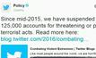 Twitter ระงับ 125,000 บัญชีโยงก่อการร้าย