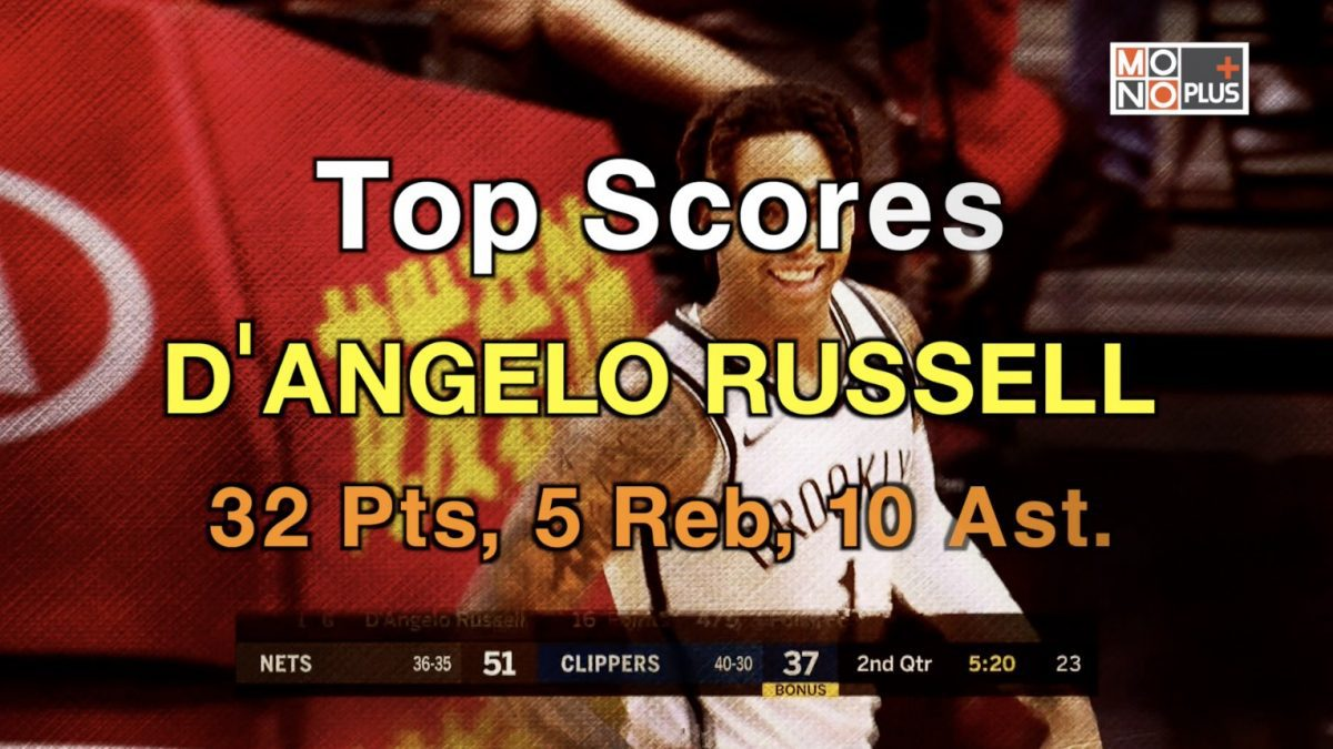 Top  SCORE  D'ANGELO RUSSELL 32  PTS 5  REB 10