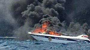 เกิดเหตุระทึก! เรือสปีดโบ๊ทน้ำมันรั่วระเบิดกลางทะเลเกาะพีพี ไฟลุกท่วม ตาย 1 เจ็บ 30 ราย