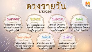 ดูดวงรายวัน ประจำวันเสาร์ที่ 8 ธันวาคม 2561 โดย อ.คฑา ชินบัญชร