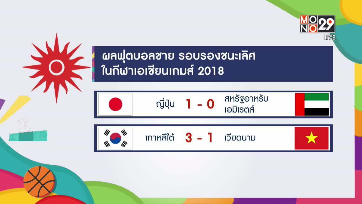 ผลฟุตบอลชายรอบตัดเชือก เอเชียนเกมส์ 2018