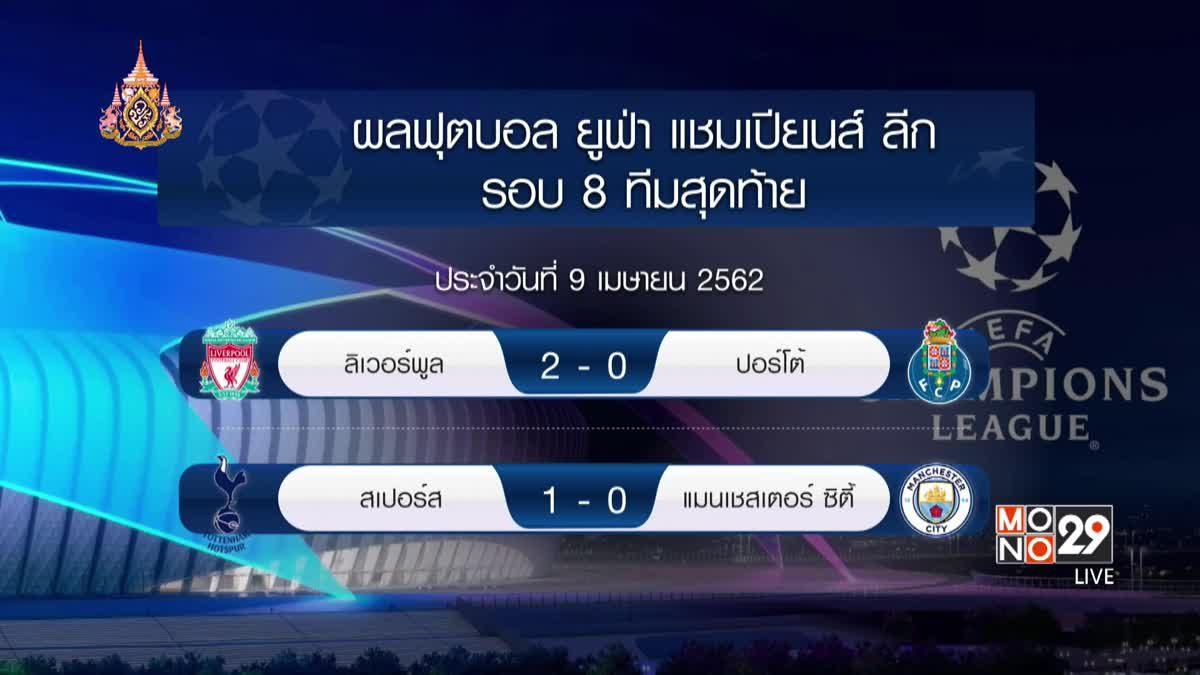 ผลฟุตบอล ยูฟ่า แชมเปี้ยนส์ ลีก 09-04-62