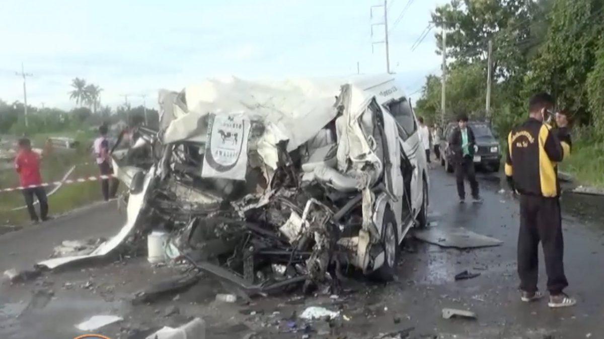 อุบัติเหตุรถตู้ขนแรงงาน เสียชีวิต 5 คน