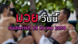 โปรแกรมมวยไทยวันนี้ วันอังคารที่ 29 มีนาคม 2559