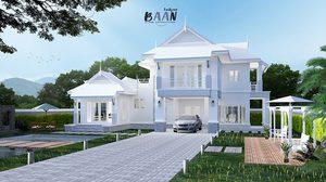 แบบบ้านสองชั้น โทนสีขาวเรียบง่ายทันสมัยผสมความเป็นไทยได้อย่างลงตัว