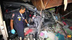 ร่างทรงซิ่งปาเจโร่ พุ่งชนบ้านเรือนประชาชนตาย 1 เจ็บ 10