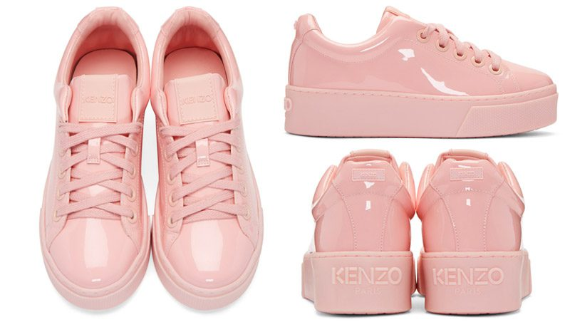 รองเท้า Kenzo : Pink Patent K-lace Platform Sneakers