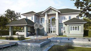 แบบ บ้านแนวคอนเทมโพรารี่ 5 ห้องนอน 4 ห้องน้ำพื้นที่ใช้สอย 389 ตร.ม.