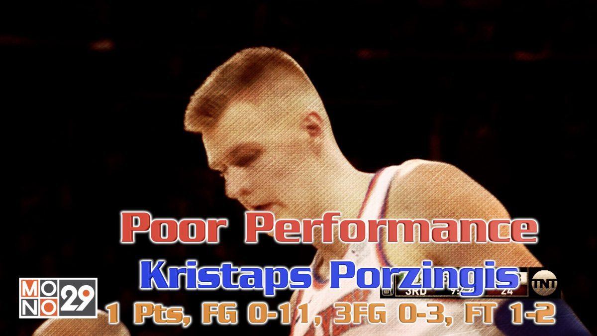 Poor Performance Kristaps Porzingis 1 Pts, FG 0-11, 3FG 0-3, FT 1-2