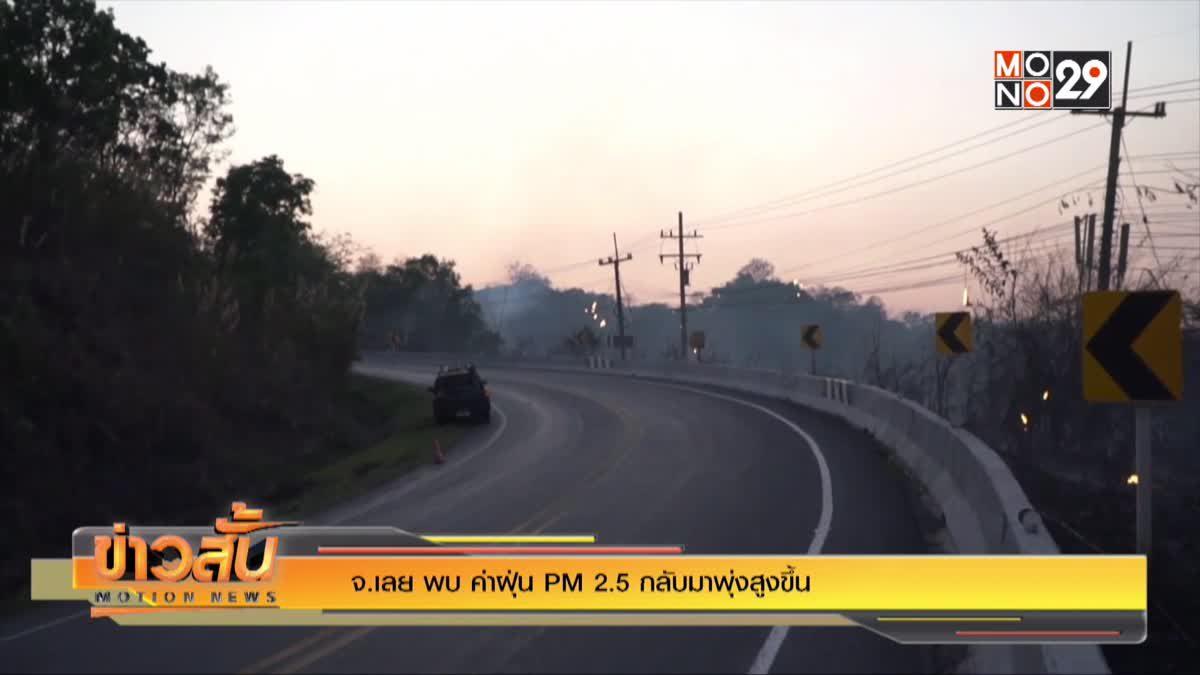 จ.เลย พบ ค่าฝุ่น PM 2.5 กลับมาพุ่งสูงขึ้น