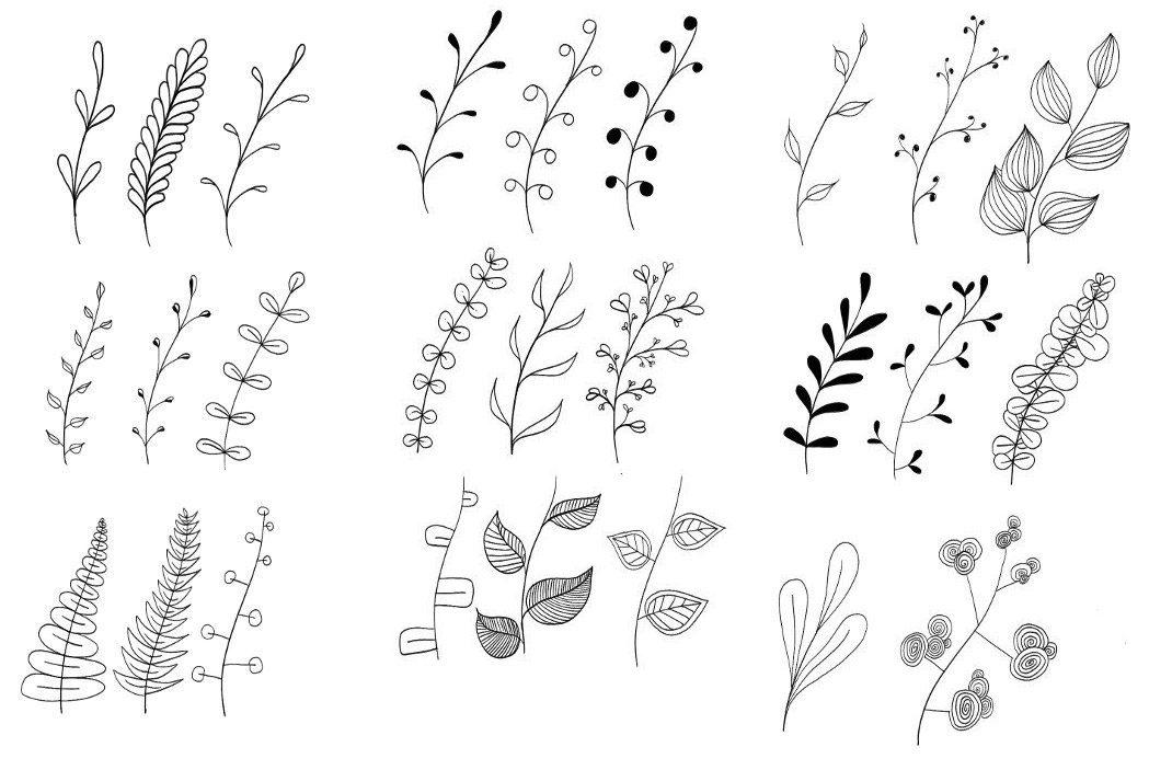 ไอเดียวาดภาพแบบง่ายๆ - กิ่งไม้ ใบไม้น่ารัก