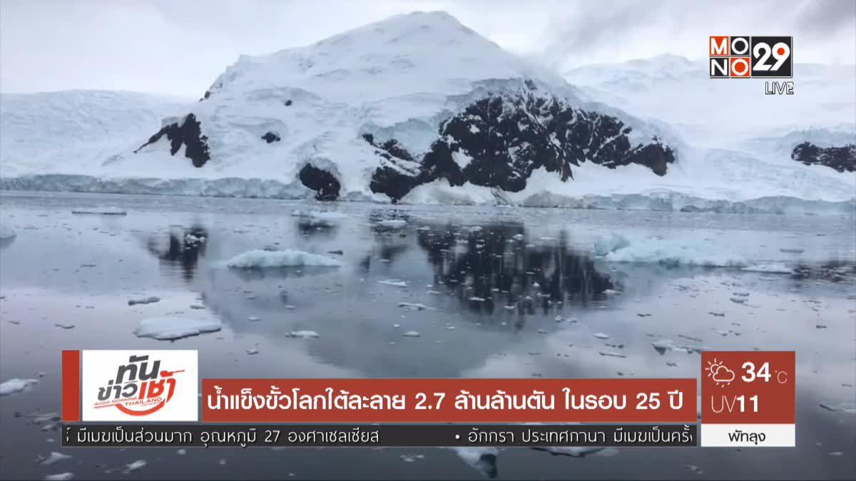 น้ำแข็งขั้วโลกใต้ละลาย 2.7ล้านล้านตัน ในรอบ 25 ปี