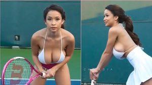 Elizabeth Anne นางแบบสาวไฟหน้าทะลักโชว์ตีเทนนิสสุดสยิว!!
