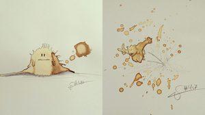 ศิลปะจากคราบกาแฟ ผลงานไอเดียสุดแจ่มที่เปลี่ยนรอยเปื้อนเป็นภาพวาดสวยๆ