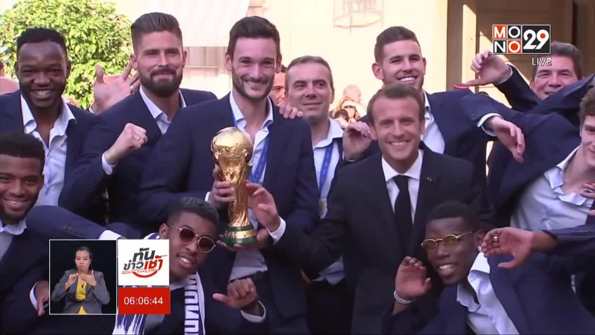 """โพลชี้คะแนนนิยม""""มาครง""""ไม่ขึ้น แม้ฝรั่งเศสคว้าแชมป์บอลโลก"""