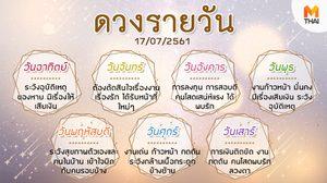 ดูดวงรายวัน ประจำวันอังคารที่ 17 กรกฎาคม 2561 โดย อ.คฑา ชินบัญชร