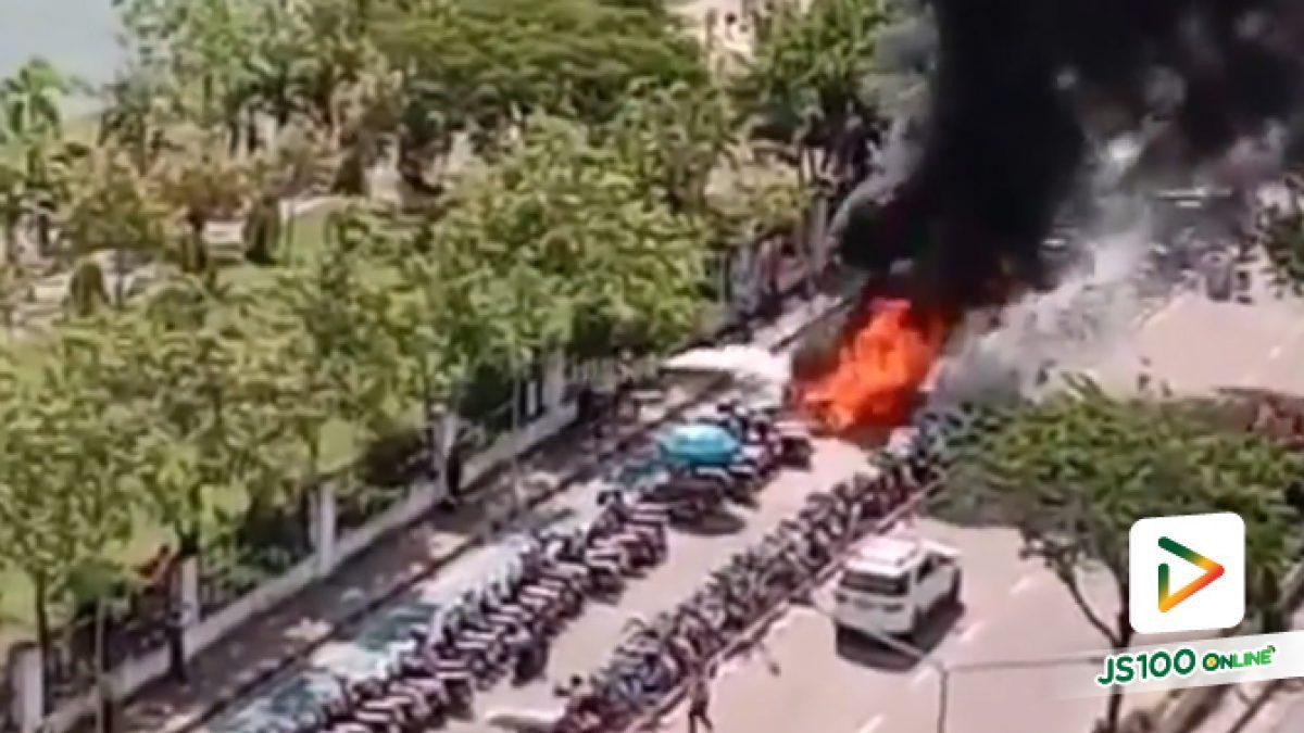 เพลิงไหม้จักรยานยนต์หน้ารพ.ศูนย์อุดรธานี เสียหายกว่า 30 คัน (30/10/2019)