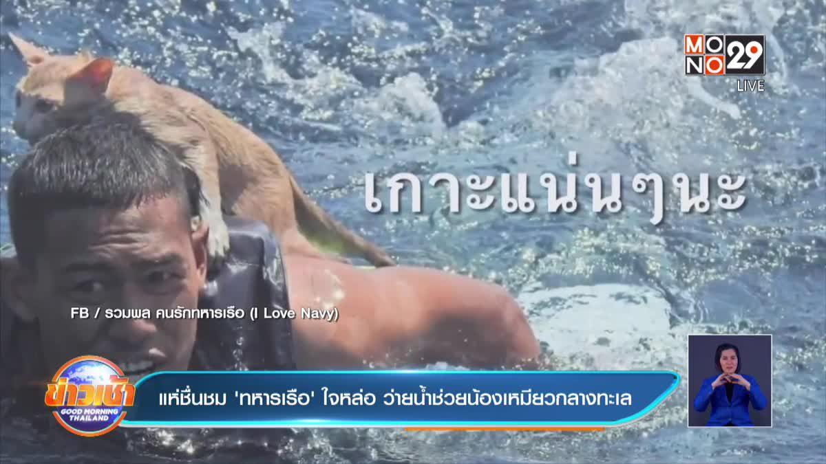 แห่ชื่นชม 'ทหารเรือ' ใจหล่อ ว่ายน้ำช่วยน้องเหมียวกลางทะเล