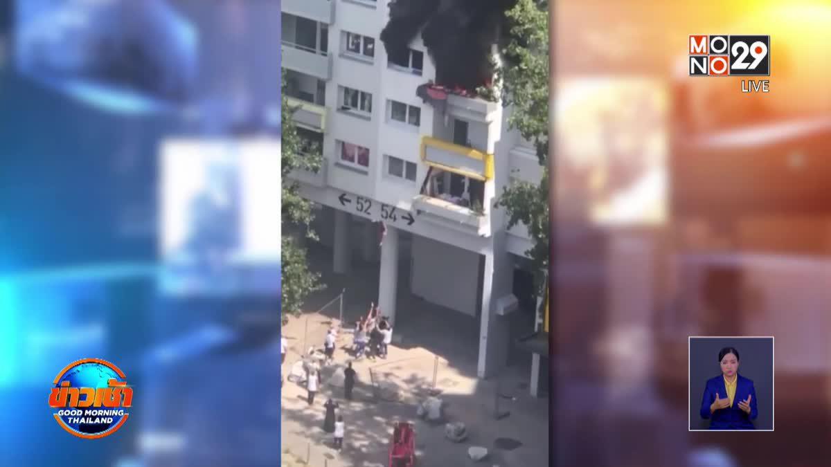 เด็กฝรั่งเศสกระโดดตึกหนีตายจากไฟไหม้