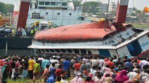 ดับแล้ว 26 เหตุ 'เรือข้ามฟากล่มกลางแม่น้ำ' ในบังกลาเทศ