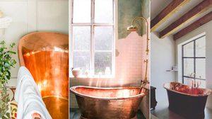 แต่งห้องน้ำ ให้โกอินเตอร์แบบสายฝ. กับ อ่างอาบน้ำทองแดง สไตล์คันทรี่