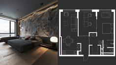 แต่งห้องคอนโด ขนาด 65 ตร.ม.โทนเข้มให้เฉียบด้วยแสงสีและพื้นผิว