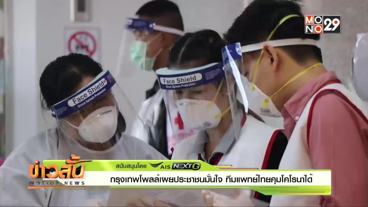 กรุงเทพโพลล์ เผย ประชาชนมั่นใจ ทีมแพทย์ไทยคุมโคโรนาได้