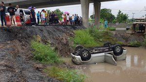 ฟอร์จูนเนอร์ตกคลองผู้ขับขี่เสียชีวิตคาดไม่ชำนาญทางและทางยังสร้างไม่แล้วเสร็จ